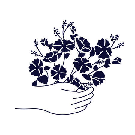 Hand is holding bouquet of blooming flowers