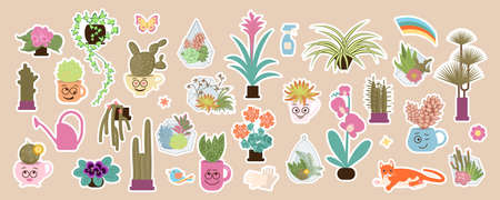 Home plant and urban jungle cute stickers set