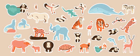 African animals and tigers cute stickers set Vettoriali