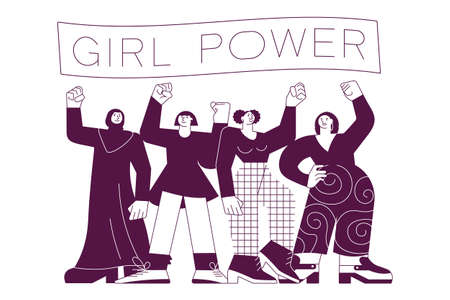 Girl power and feminism concept on white