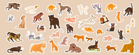 Domestic cats and dogs cute stickers set.