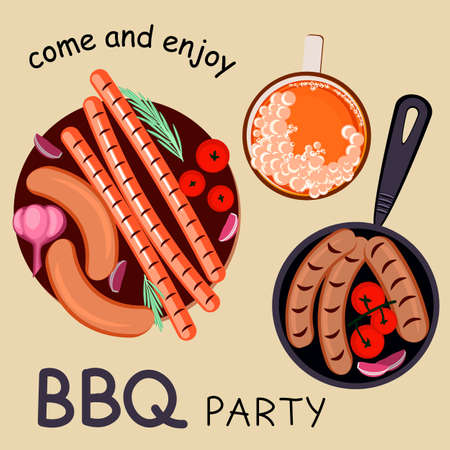 Barbecue grill banner template with grilled foods and beer