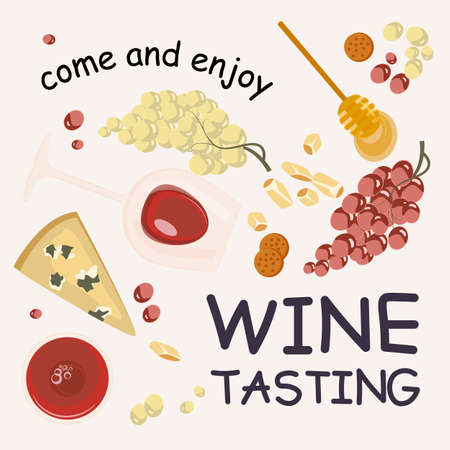 Wine tasting banner template with cheese and snack