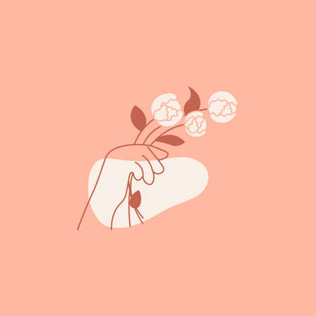 Hand with flower abstract design template Vettoriali