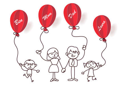 Happy family holding red balloons with their names Vettoriali