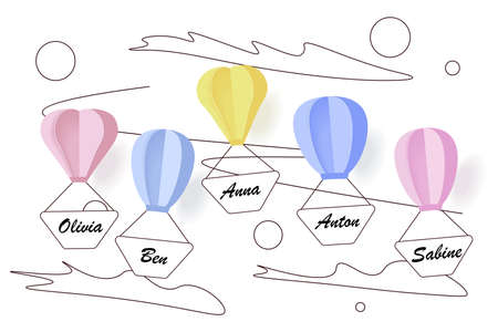 Balloons with family or friends names flying in the sky Vettoriali