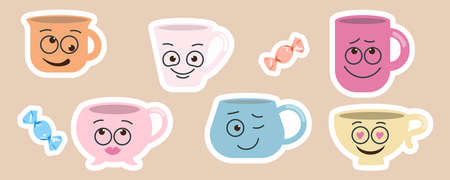 Cute sticky labels decorated with smile face mugs Vettoriali