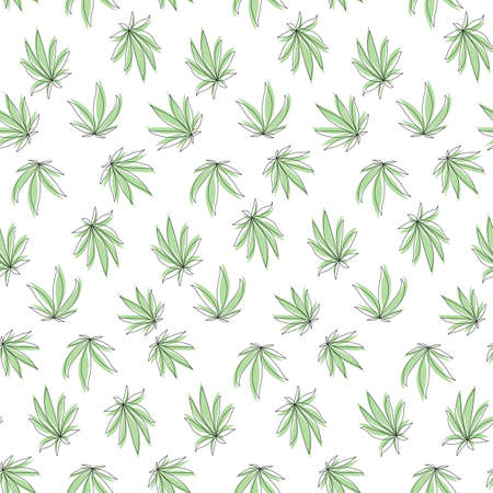 Seamless pattern with green cannabis leaf on white background.