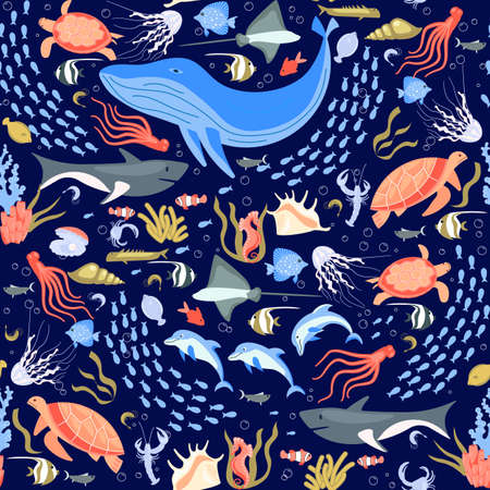 Seamless pattern with underwater life elements and tropical animals