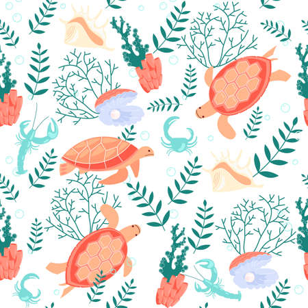 Seamless underwear pattern with turtle and pearl Vettoriali