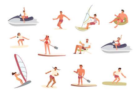 Men an women ride the Barreled Rushing Waves Vettoriali