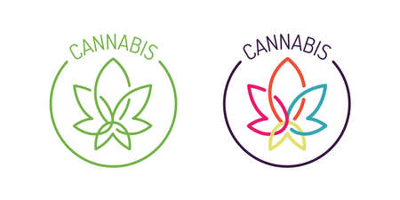 Two Cannabis leaf sign Illustration on white