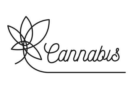 Black Cannabis leaf sign Illustration on white