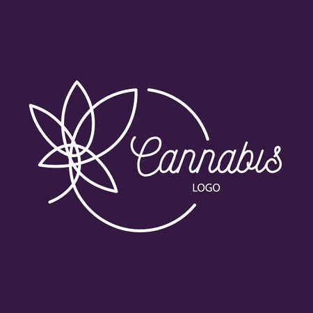 White Cannabis leaf sign Illustration on dark blue Vettoriali