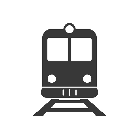 locomotion: Train or and railway station flat icon. Front view of train or tram sign.
