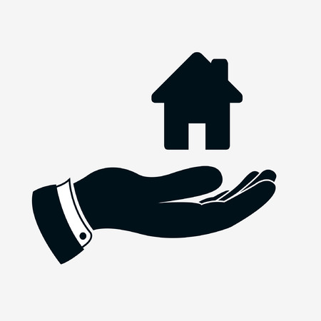 Hand icon with house sign or home sign. Simple house icon above hand. Illustration of hand which giving or offering a housing and rest. Illusztráció