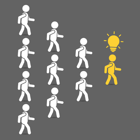 enterprising: Leader of team with idea. Leadership business concept with crowd following behind their leader. Vector teamwork color illustration. Illustration