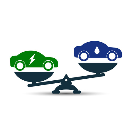 Illustration of comparison between electric eco car and gasoline car. Electric car and fuel car on scales. Demonstration of the advantage or benefit. Fuel gas car versus electric car, vector concept.