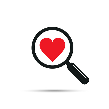 acquaintance: Search heart and love icon, vector. Magnifying glass with heart inside. Dating illustration.