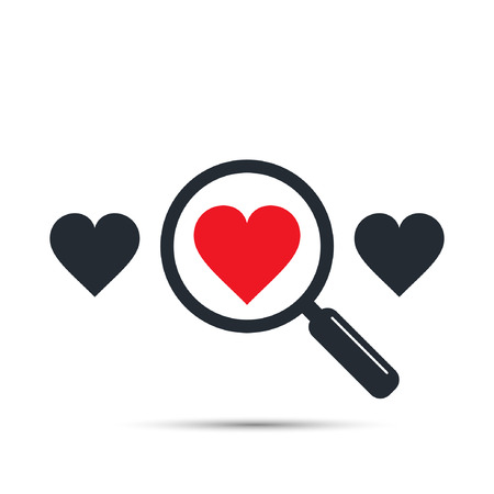 Search heart and love icon, vector. Find one red heart among other. Magnifying glass with heart inside. Dating illustration.