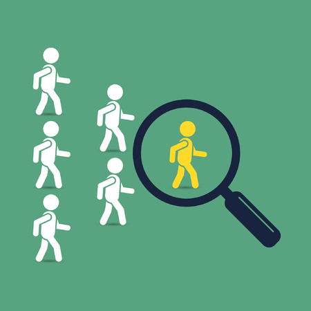 enterprising: Search leader business concept with magnifying glass. Crowd following behind the team leader. Looking for employees and job, business, human resource, talent. Vector teamwork color illustration.