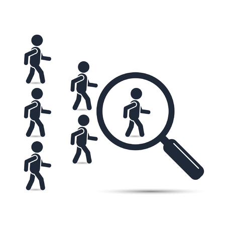 enterprising: Search leader business concept with magnifying glass. Crowd following behind the team leader. Looking for employees and job, business, human resource, talent. Vector teamwork illustration. Illustration