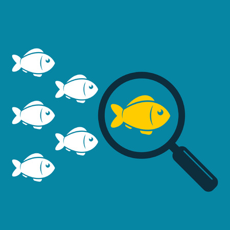 enterprising: Search leader vector illustration. Leadership business concept. Crowd fish following behind the leader with magnifying glass. Vector color illustration.