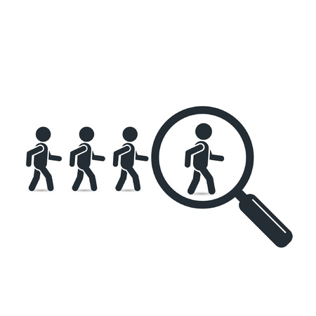 looking for job: Search leader business concept with magnifying glass. Crowd following behind the team leader. Looking for employees and job, business, human resource, talent. Vector teamwork simple illustration. Illustration