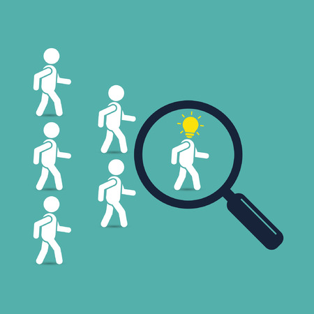 enterprising: Search creative successful leader with idea, business concept. Crowd of people following behind their leader. Find employees and job, business, human resource, talent. Vector illustration. Illustration