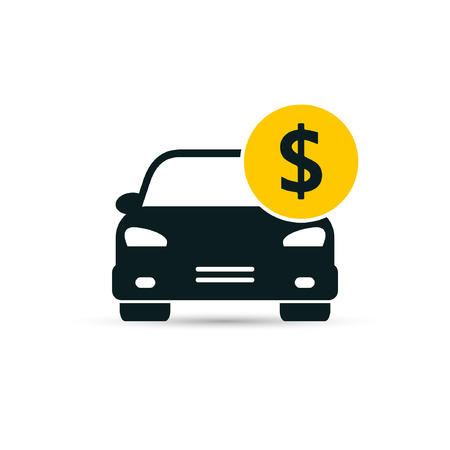 Car with coin icon vector. Buying car button in flat style. Save money for buying transport. 일러스트
