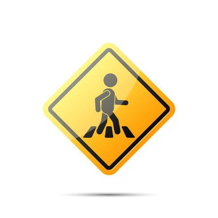 crosswalk: Road yellow sign with pedestrian on crosswalk, vector simple rhombus symbol. Pedestrian crossing icon.