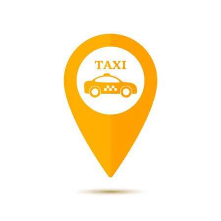 Map pointer with symbol taxi cab in flat design. For location maps. Yellow sign for navigation. Index location on map. Vector isolated illustration. Illustration