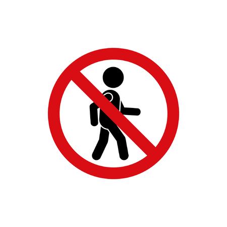 dont walk: No pedestrian sign, vector road symbol.