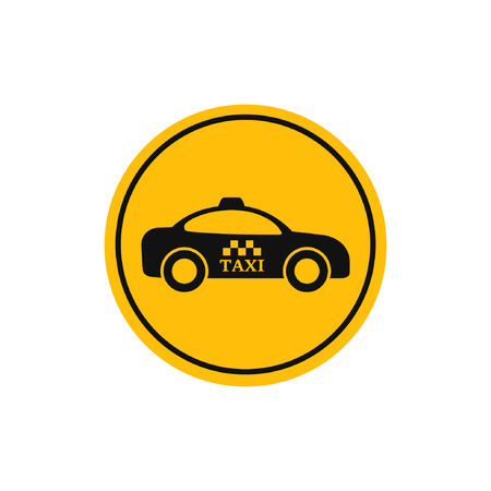 reference point: Taxi cab yellow vector sign. Taxi car side view.