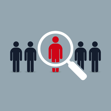 looking for job: Search for employees and job, business, human resource. Looking for talent. Search man vector icon. Job search. Illustration