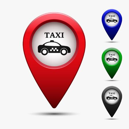Map pointer set with symbol taxi cab in flat design. For location maps. Color sign for navigation. Index location on map. Vector isolated illustration.