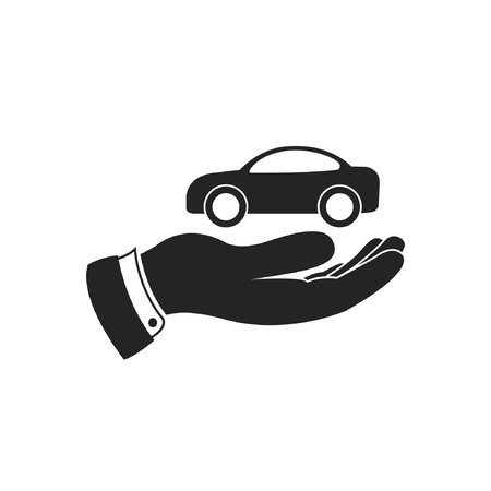 car for sale: Hand and car, vector icon. Rent car, sale car, care for car illustration.