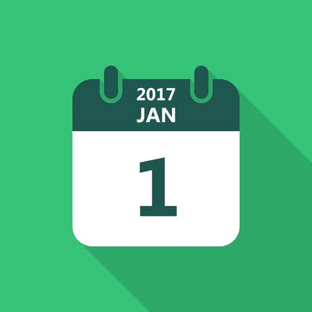 january 1: Calendar icon 1 january 2017 year with long shadow isolated on green background. Calendar in flat style, vector. Illustration