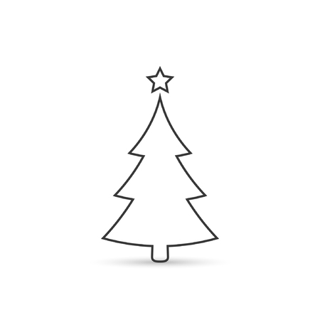 Christmas tree outline icon, vector simple design. Black symbol of fir-tree, isolated on white background.
