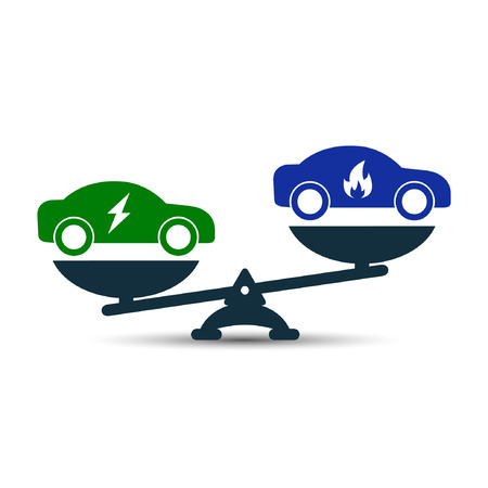 advantage: Illustration of comparison between electric eco and gas car. Electric and gas car on scales. Demonstration of advantage or benefit. Gas car versus electric vector concept.