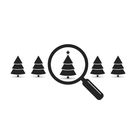 Search christmas tree among other trees, vector black illustration.