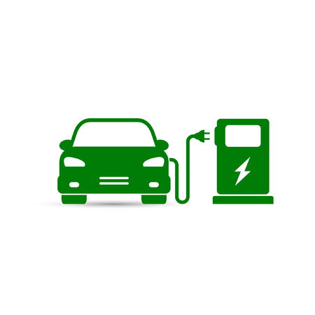 Electric car on refill icon, vector. Electric refueling simple illustration.