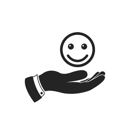 invigorate: Hand holding smiley emoticon icon, vector. Giving good mood illustration.