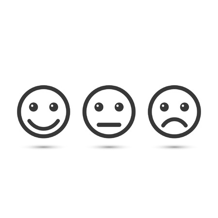 Smiley emoticons icon positive, neutral and negative, vector isolated illustration of different mood. 向量圖像