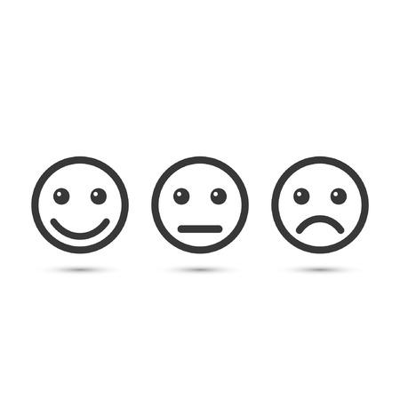 Smiley emoticons icona positivo, neutrale e negativo, vettore isolato illustrazione di diverso umore.