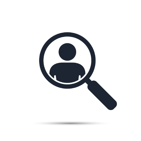 Search for employees and job, business, human resource. Looking for talent. Search man vector icon. Job search. Magnifying glass with men inside.