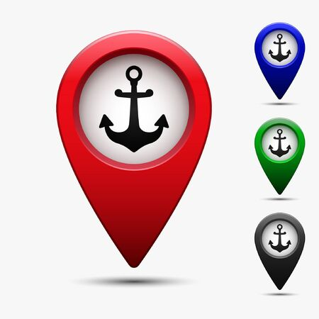 Colored Map Pointer With Symbol Anchor And Sea Port For Location