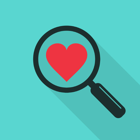 Search heart and love icon with long shadow, vector. Magnifying glass with heart. Dating illustration. Illustration