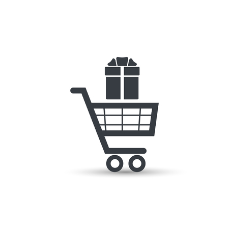 Shopping cart and gift box, vector simple illustration. Illustration