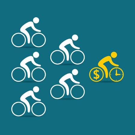 enterprising: Leadership business concept with cyclists following their leader. Vector color illustration.